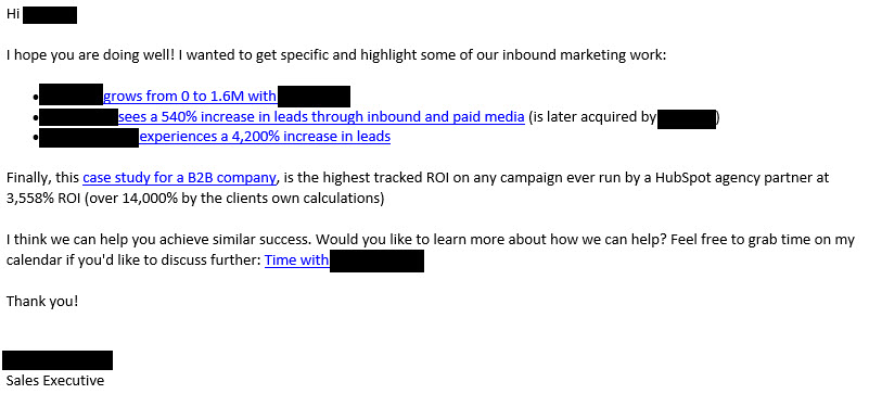 cold email content example